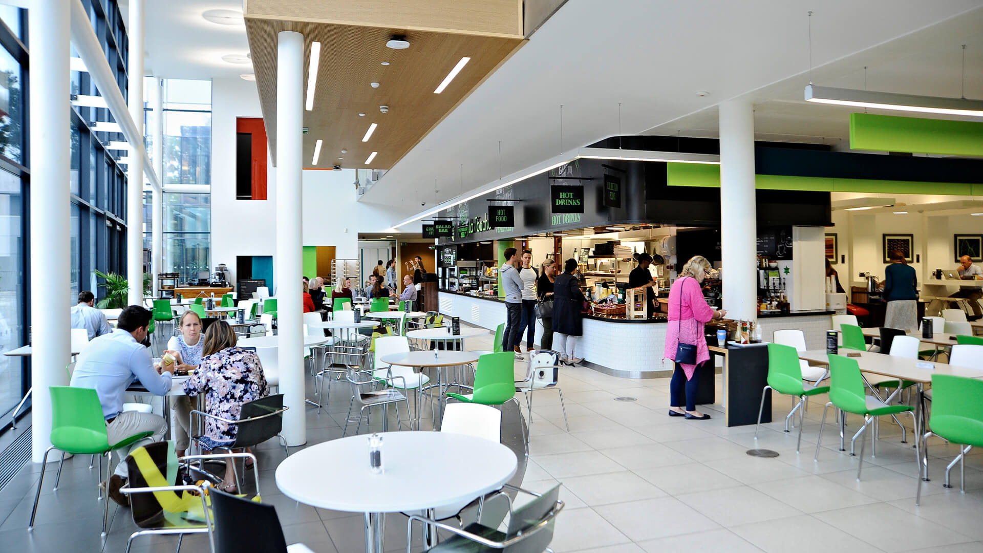 Students using the La Touche cafe at University of Exeter campus