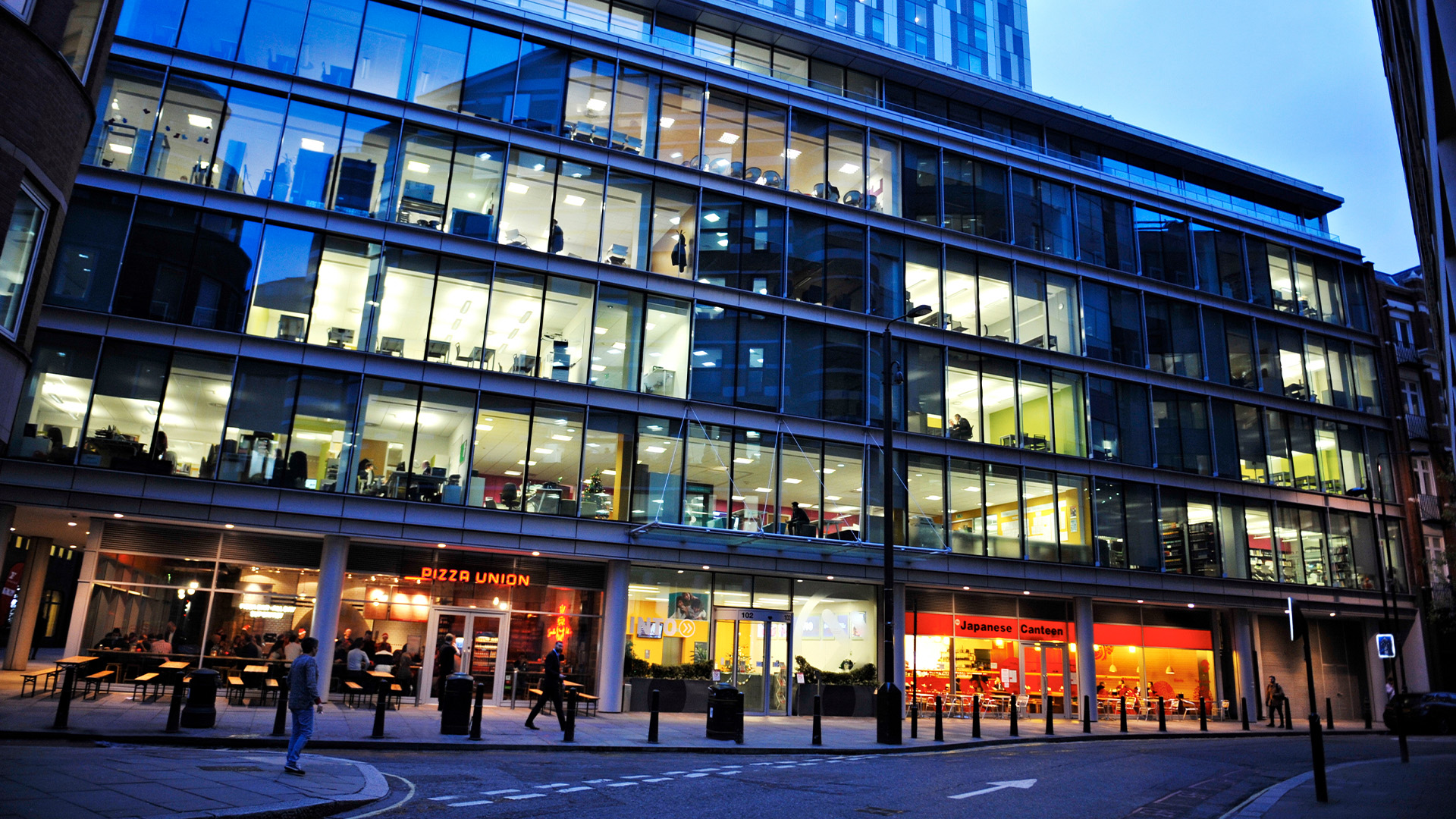 The modern INTO London campus is located in London's vibrant financial district