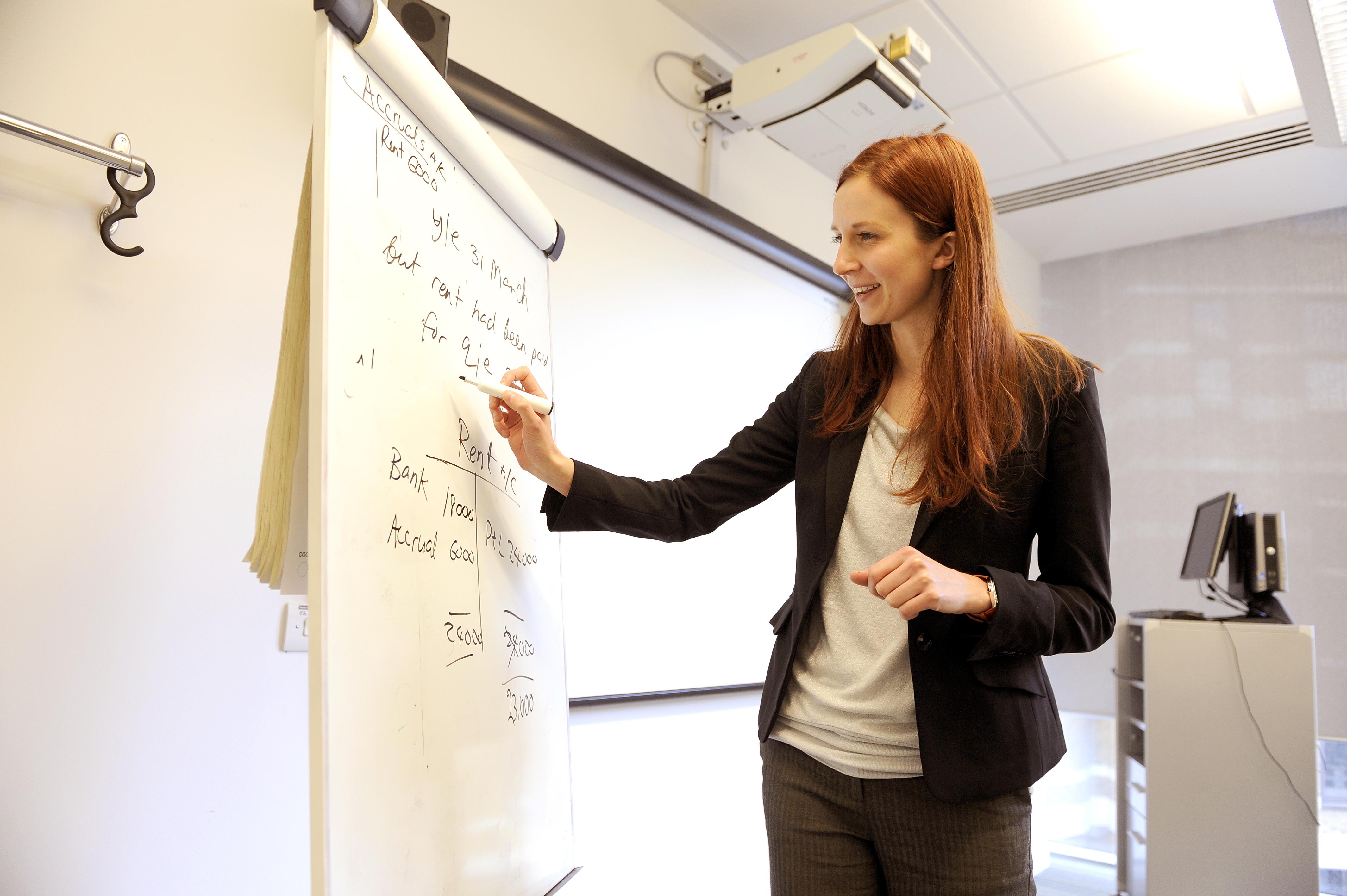 Teacher teaching Business in classroom