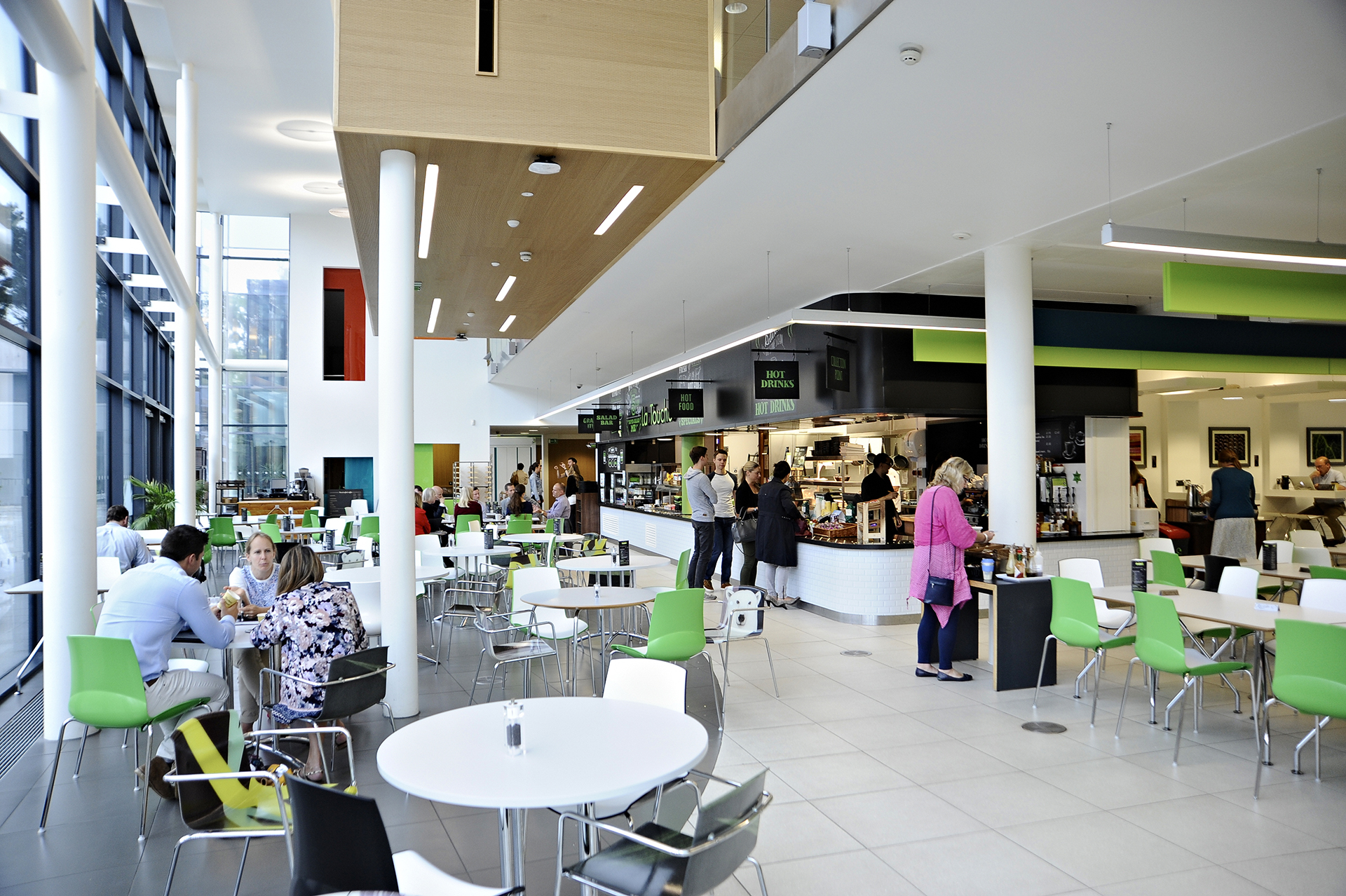 Students eating in La Touche cafe at University of Exeter
