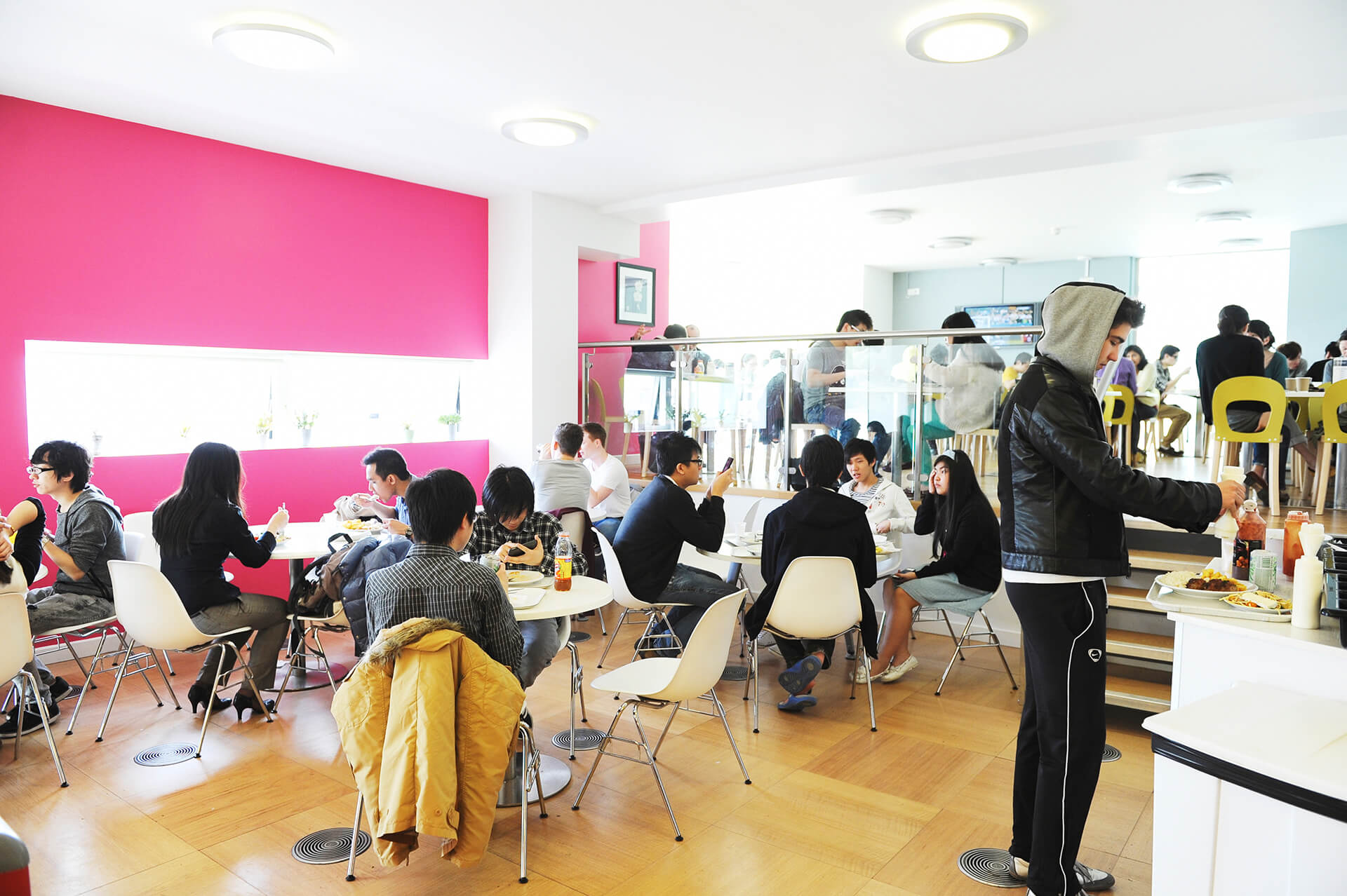 View of international students having lunch in the INTO Centre cafe