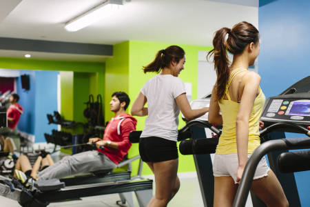 International students in Liberty Heights using the gym