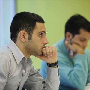 Student concentrating in a MA Media and Communications class