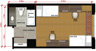 Floor plan for a double room at George Mason University