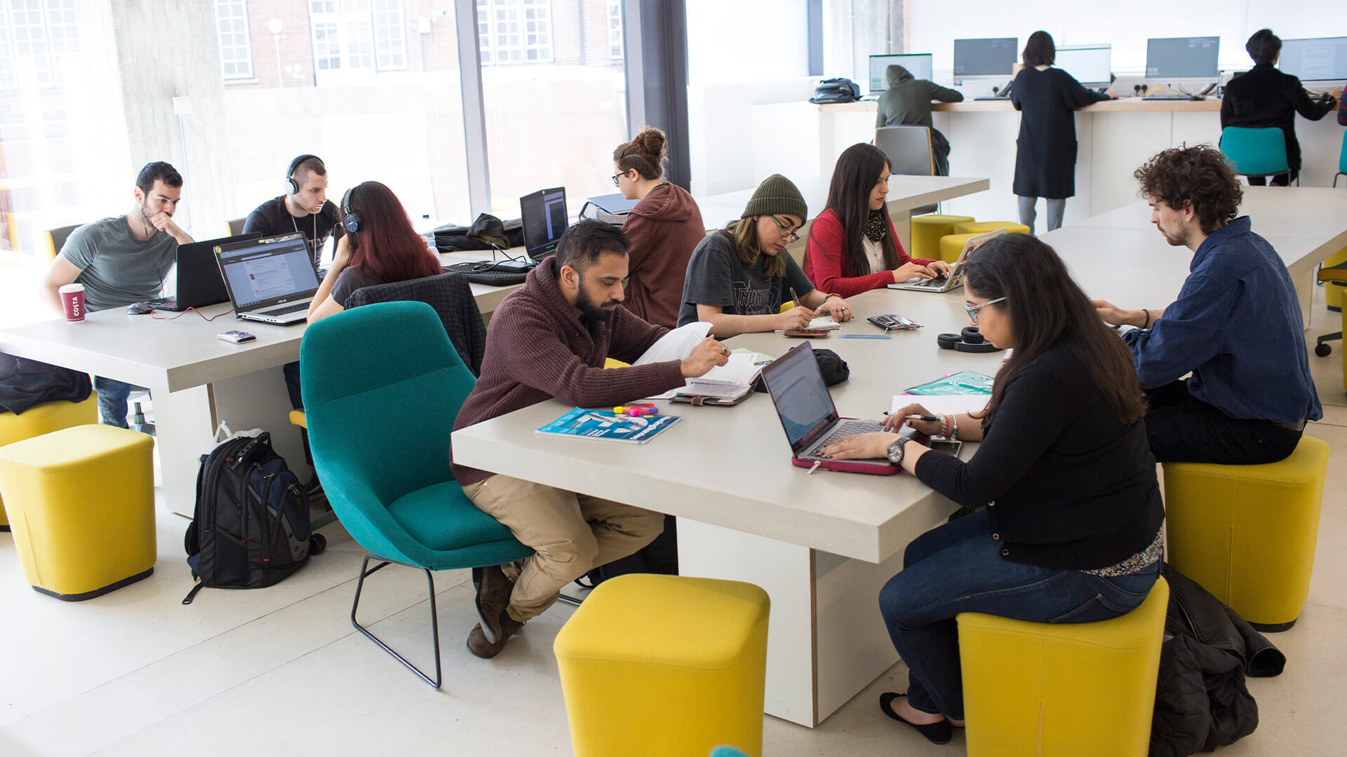 Students studying in breakout area at City, University of London