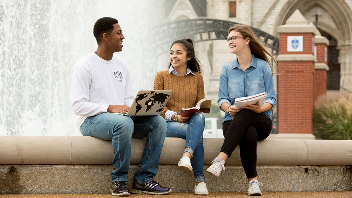Students on campus at Saint Louis University