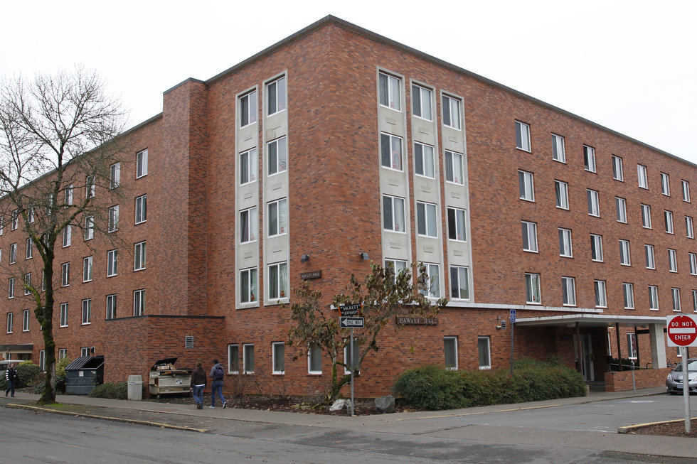 Hawley Hall residence hall exterior at Oregon State University