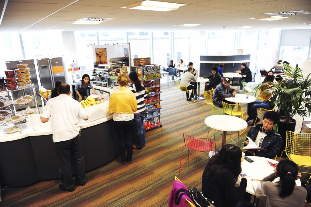 Staff and students in the INTO cafe