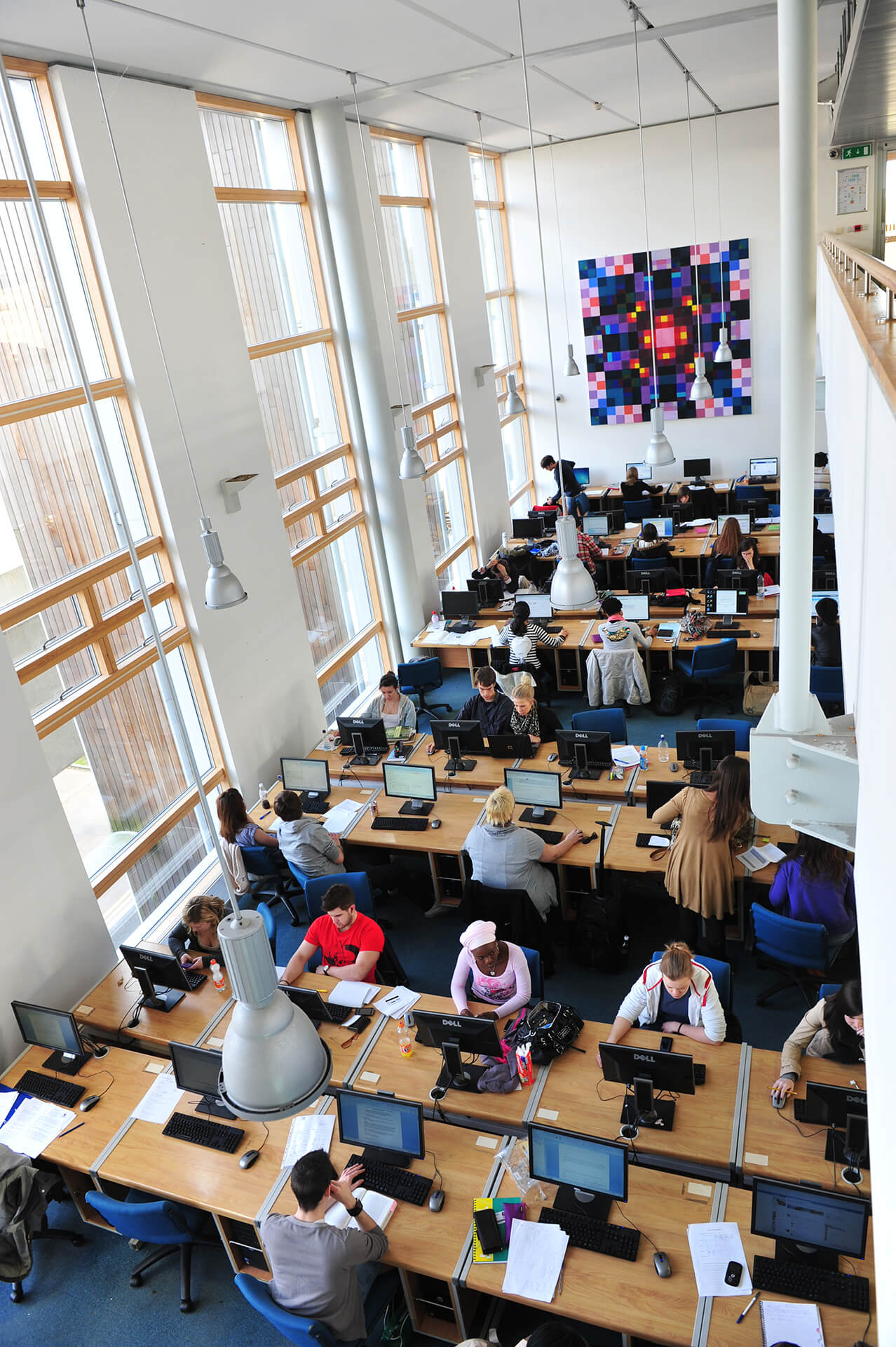 View of students using the UEA library
