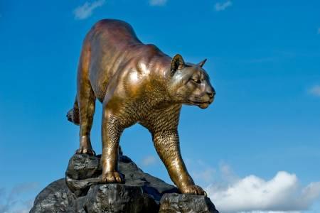 Statue of the school's Cougar mascot.
