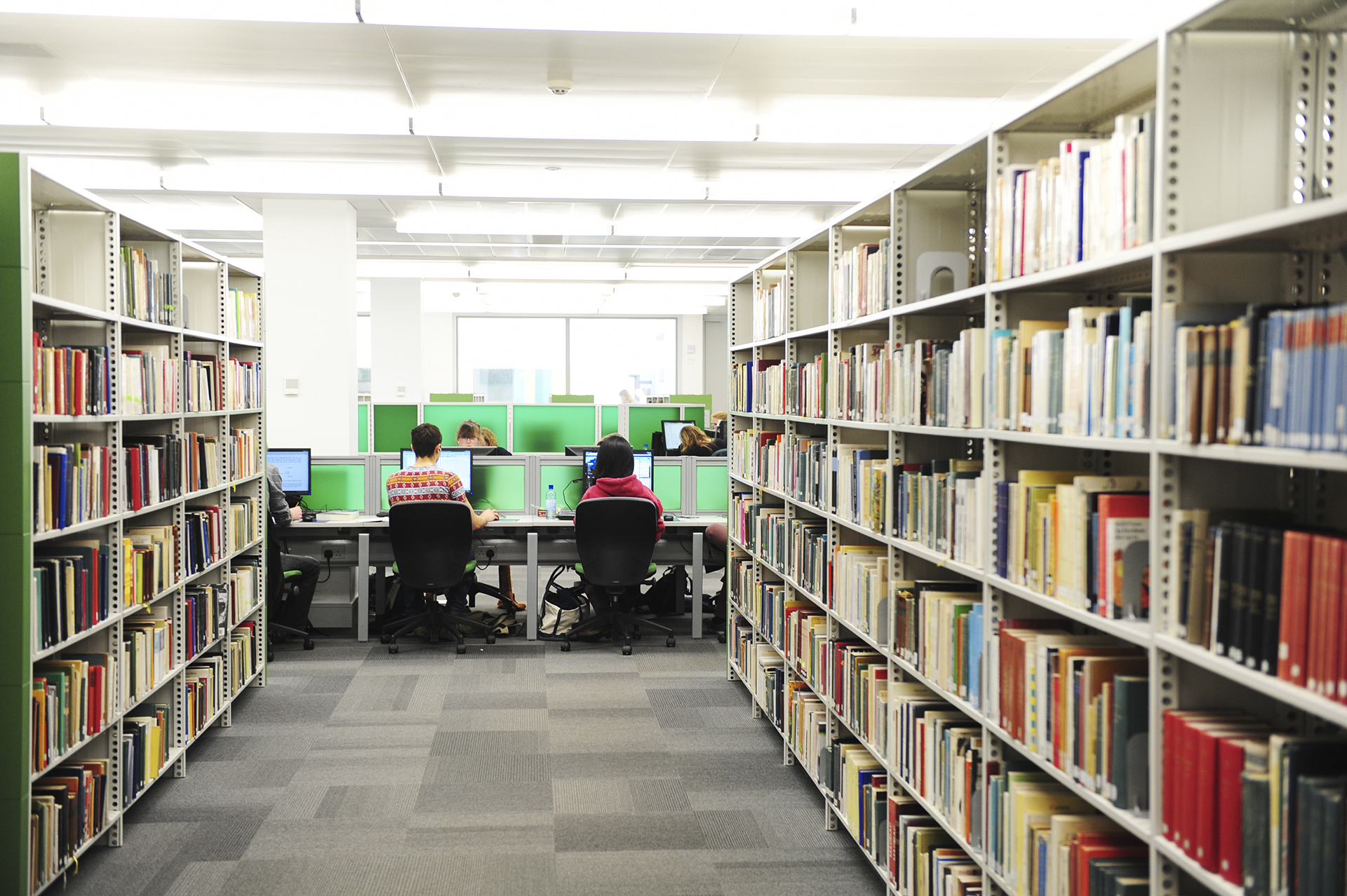 Students using computers in University of Exeter library