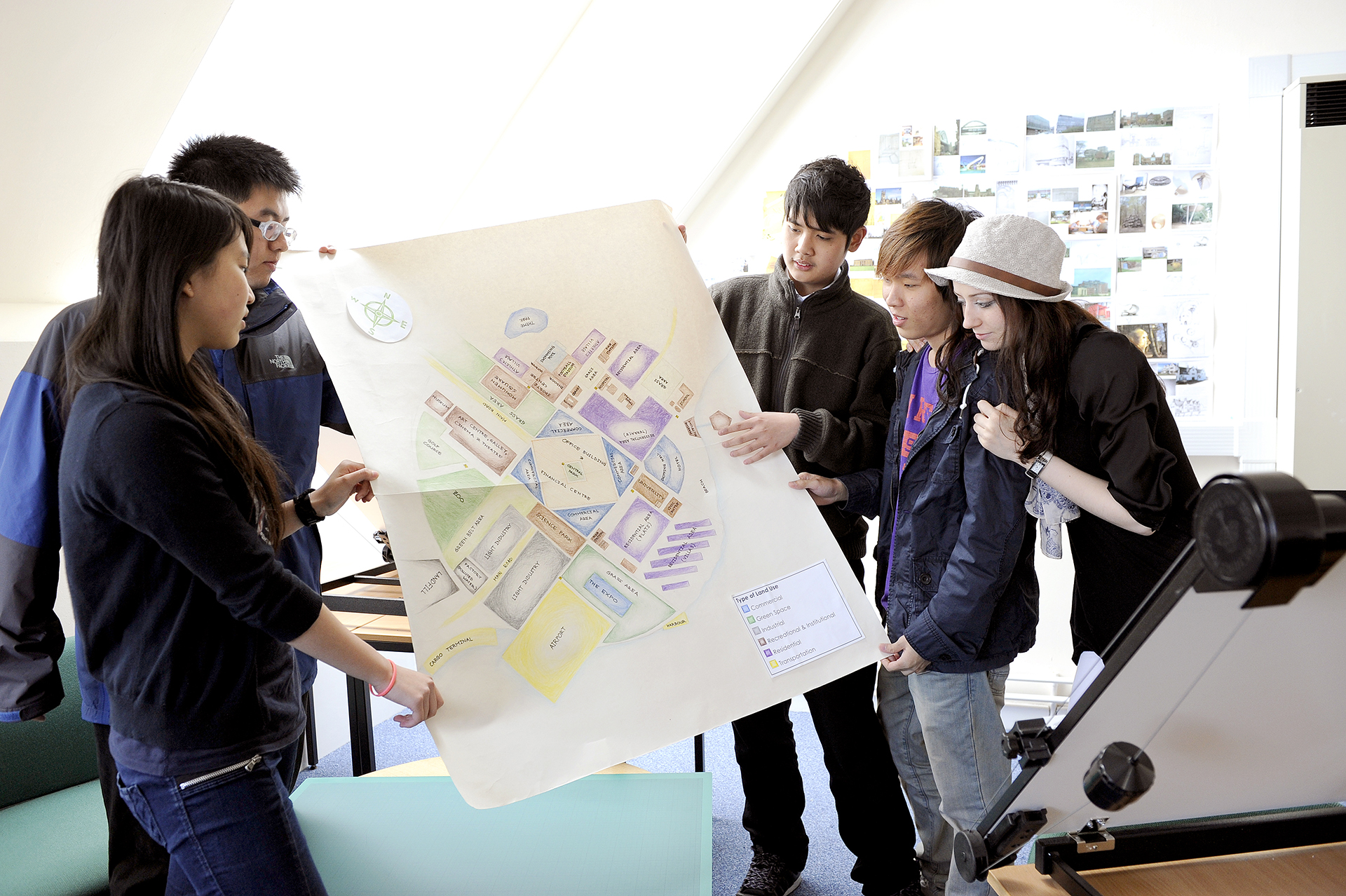 Students in architecture class presenting project