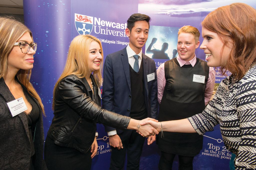 Students meeting Princess Eugenie