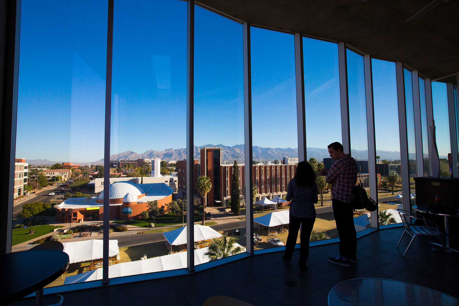 University of Arizona looking out of window