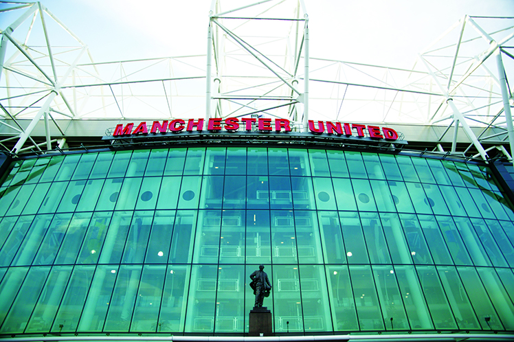 Old Trafford football stadium, home to Manchester United F.C.
