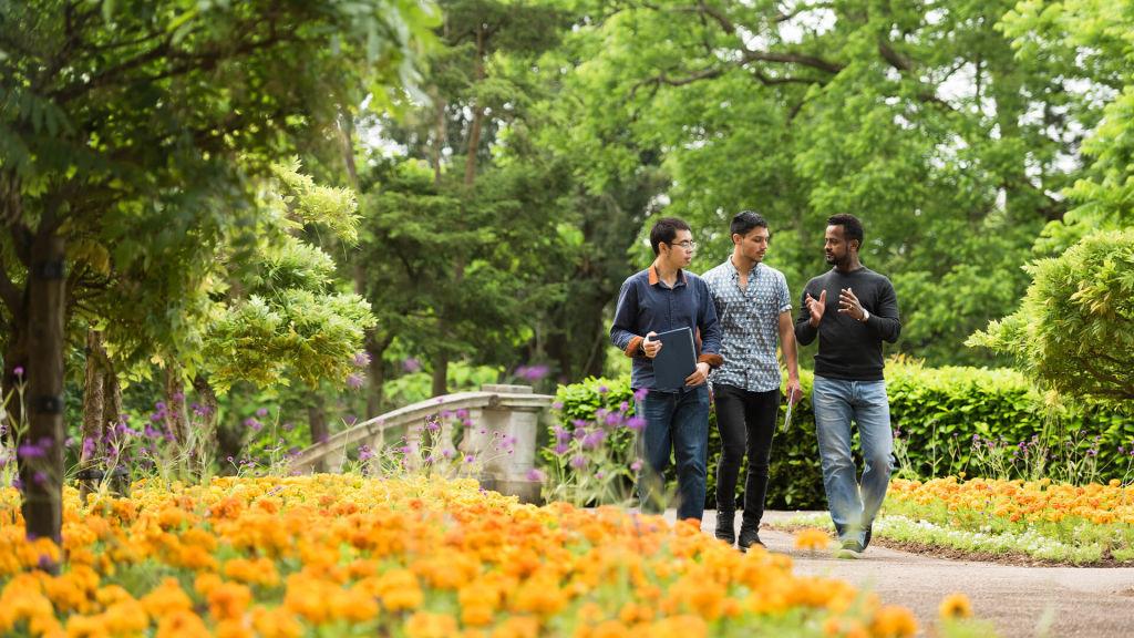 Students walking through University of Exeter campus