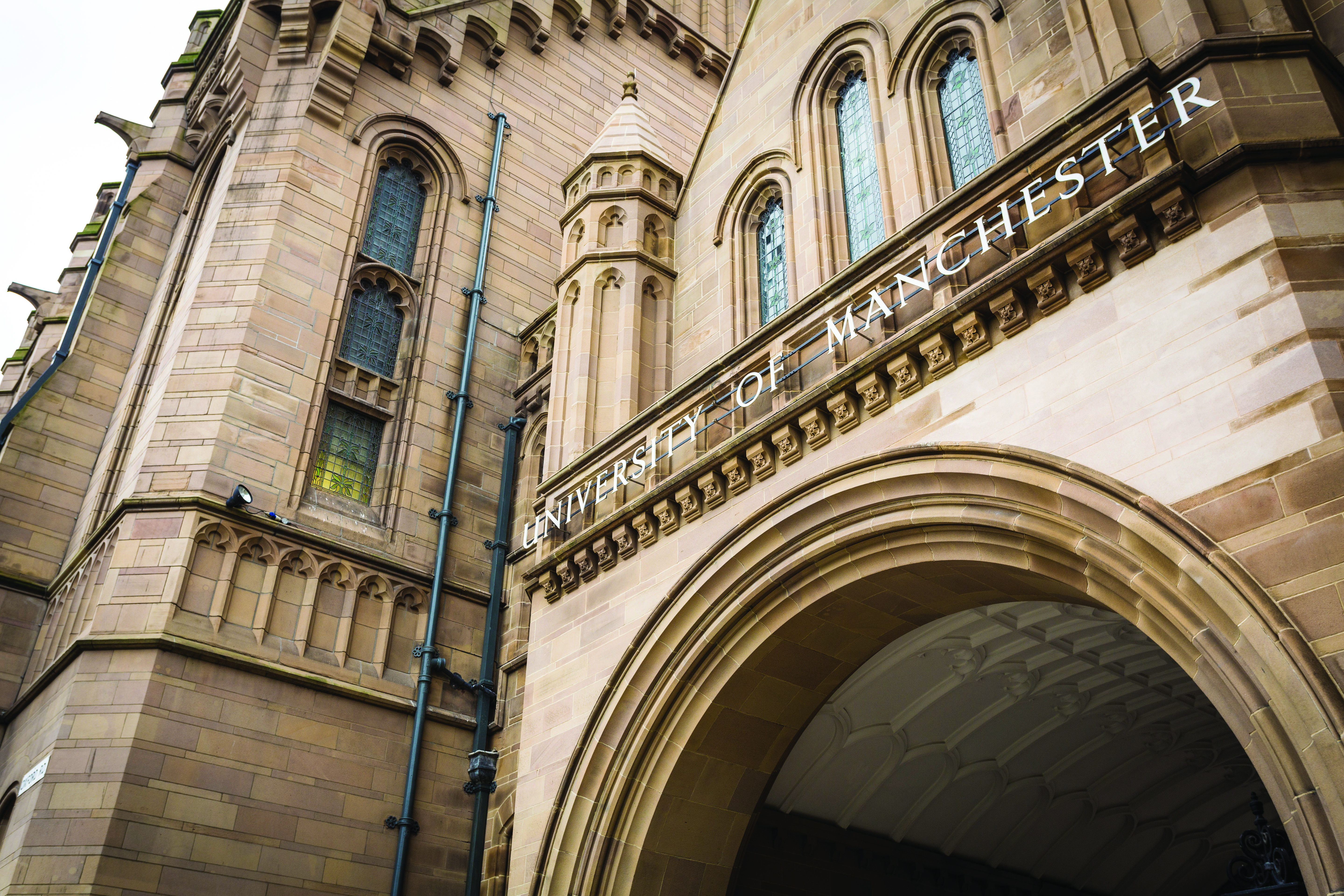 Exterior view of Whitworth Hall at The University of Manchester