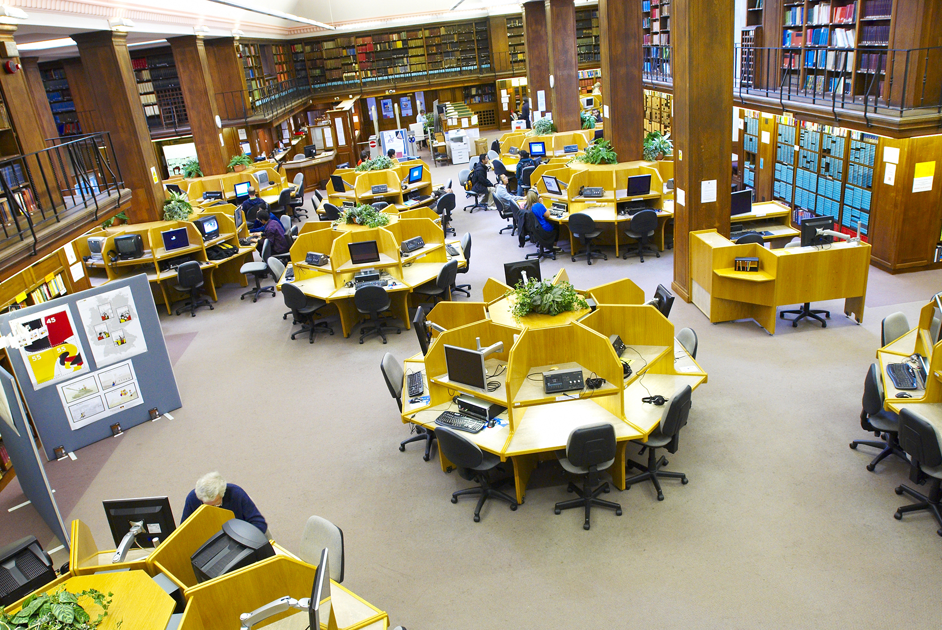 Students using the Language Resource Centre in the Old Library Building