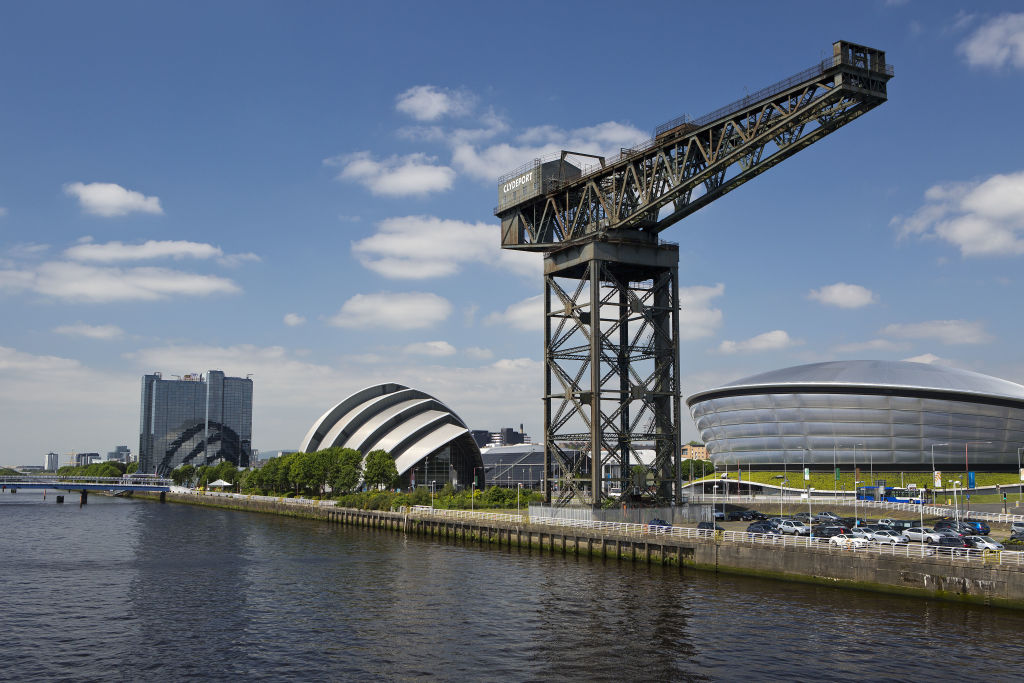 Glasgow's River Clyde and the SSE Hydro indoor arena