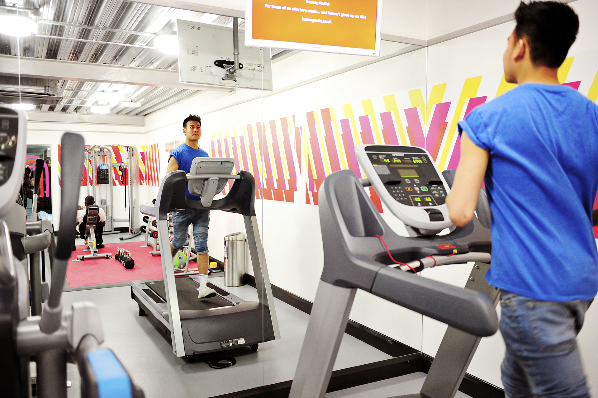 Student using the gym facilities at Scape East student residences