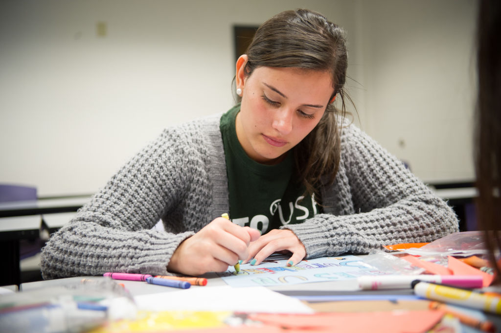 USF student prepares for an exam at the INTO Center