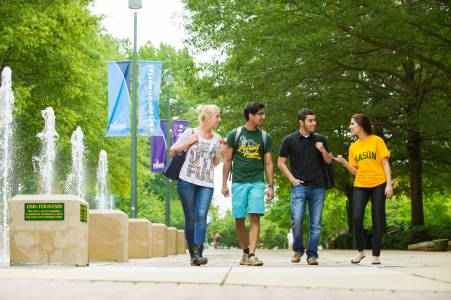 International students walk on campus at George Mason University