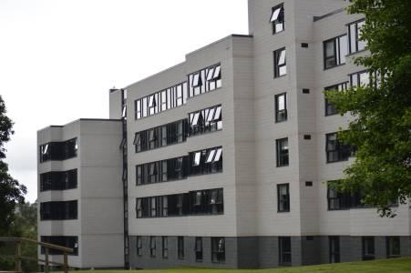 Outside Beech Court student accommodation block at University of Stirling