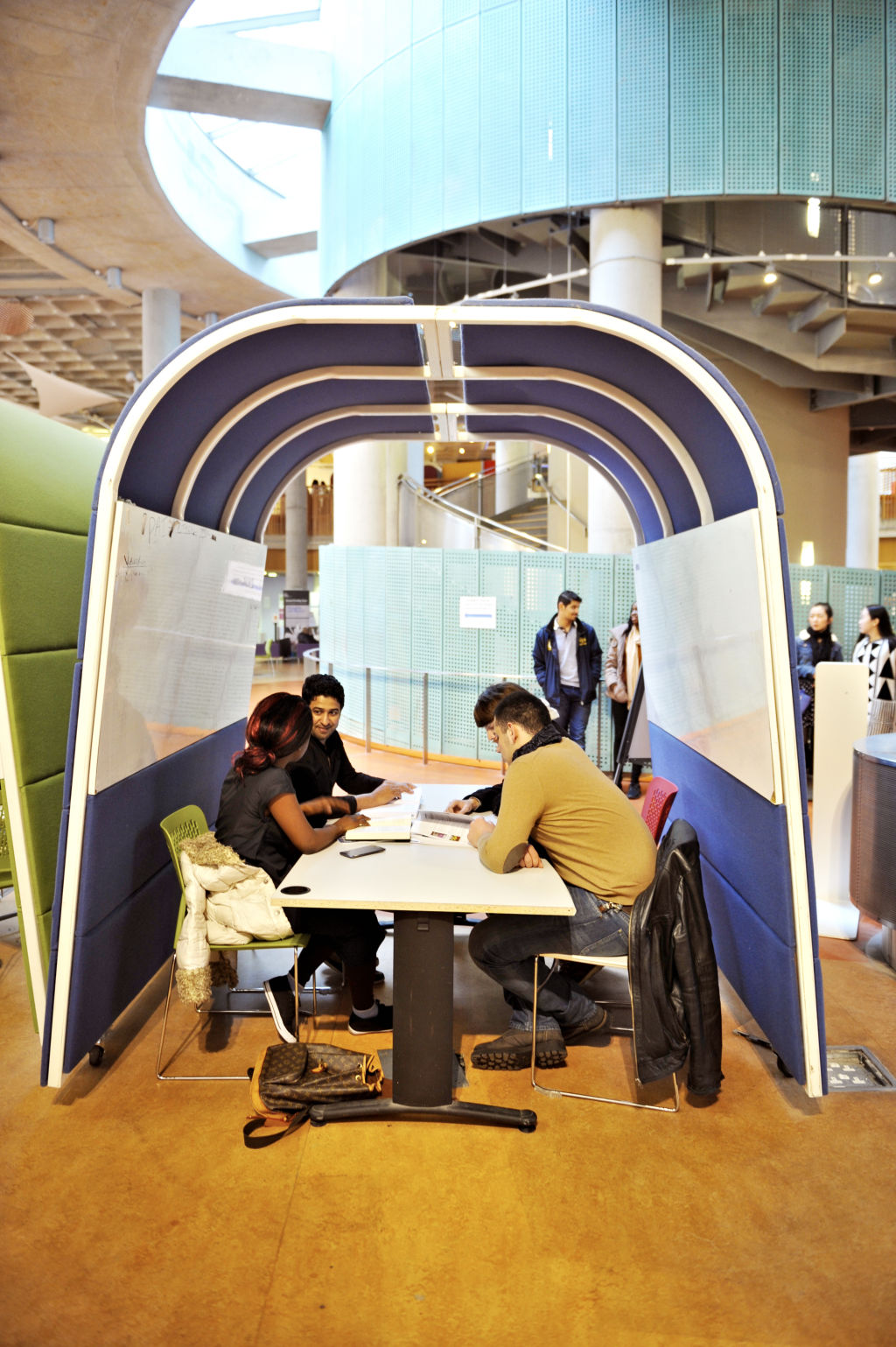 Students using the study pods