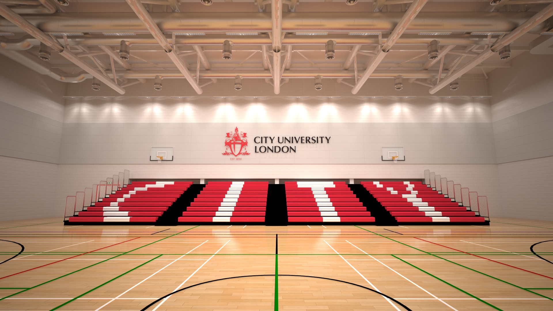 Seating in the Sports Hall at City, University of London