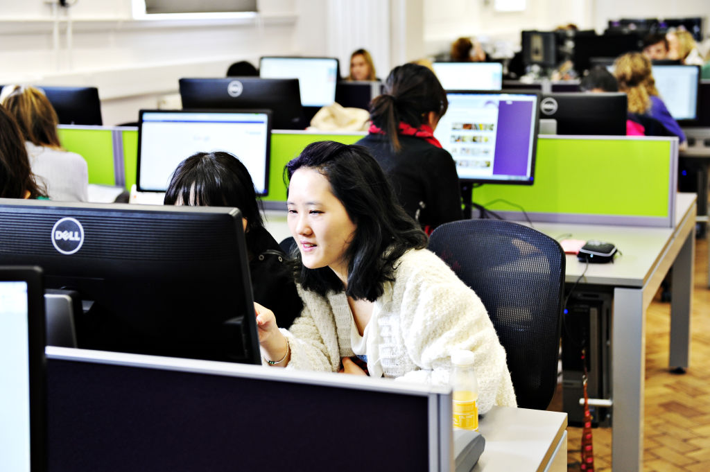 Students using computer lab