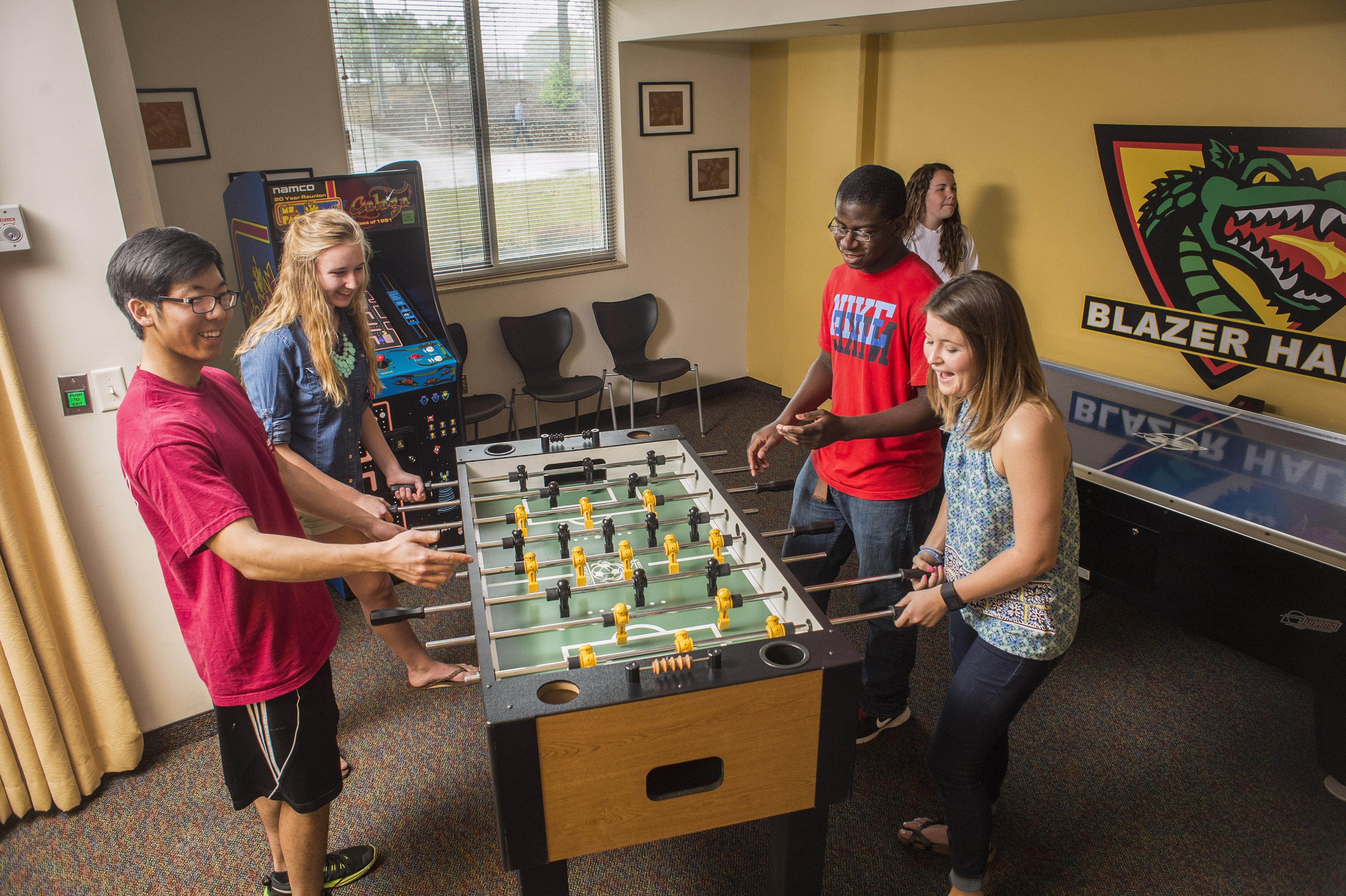 UAB Blazer Hall room Students playing