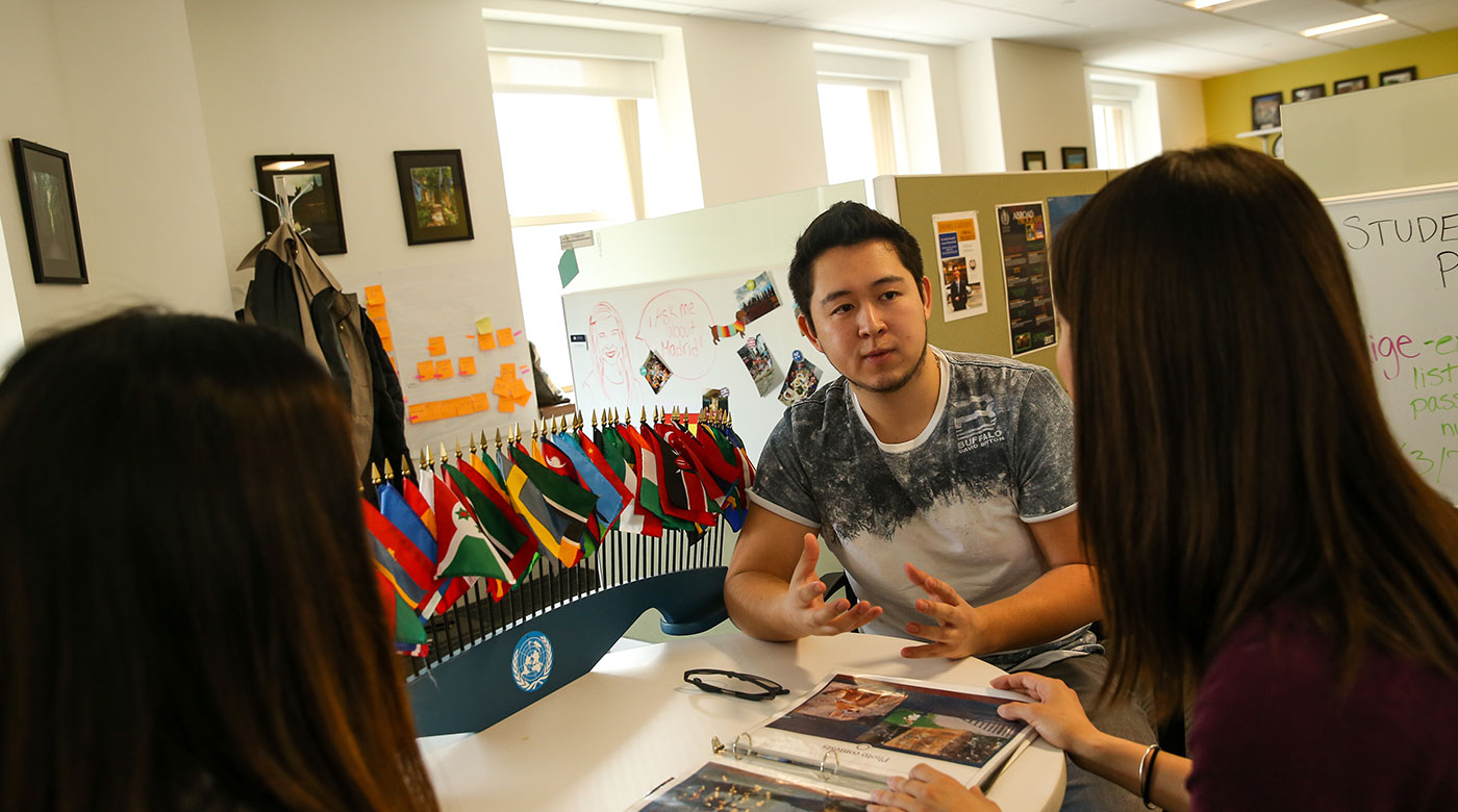 International student gets tutoring support for his classes.
