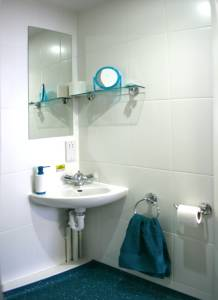 En suite bathroom at The Craft Building student residences in London
