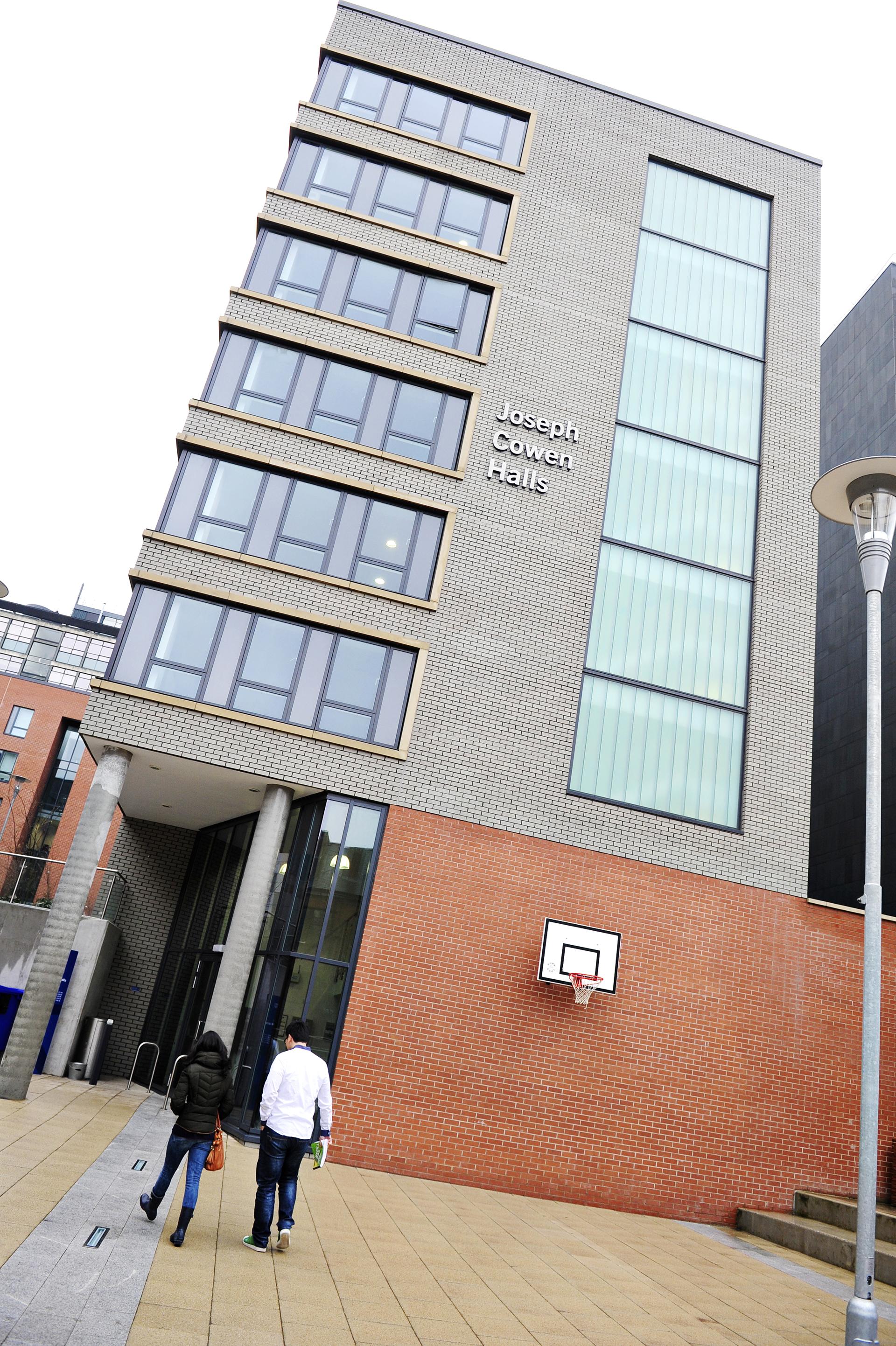 Exterior view of Joseph Cowen Halls at INTO Newcastle University