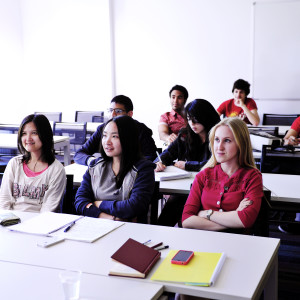 International students listening in classroom at University of Exeter
