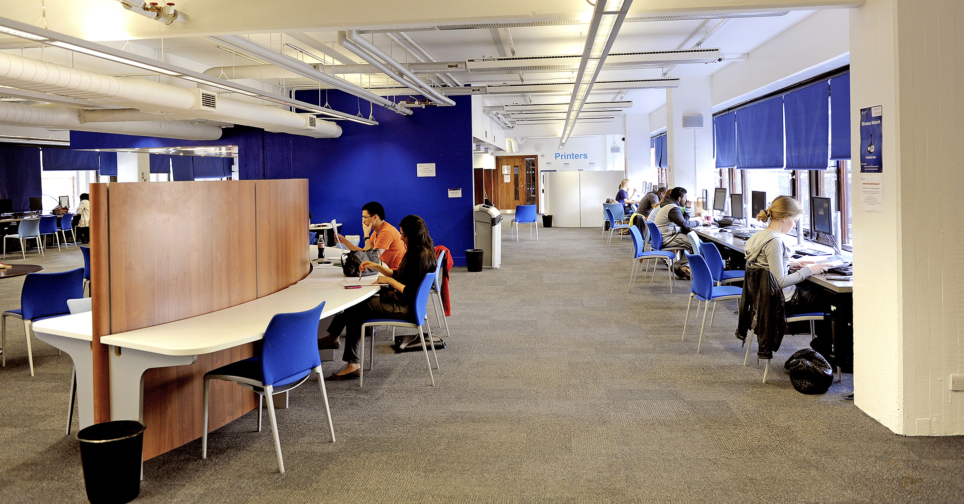 Students at City, University of London using computers in Learning Resource Centre