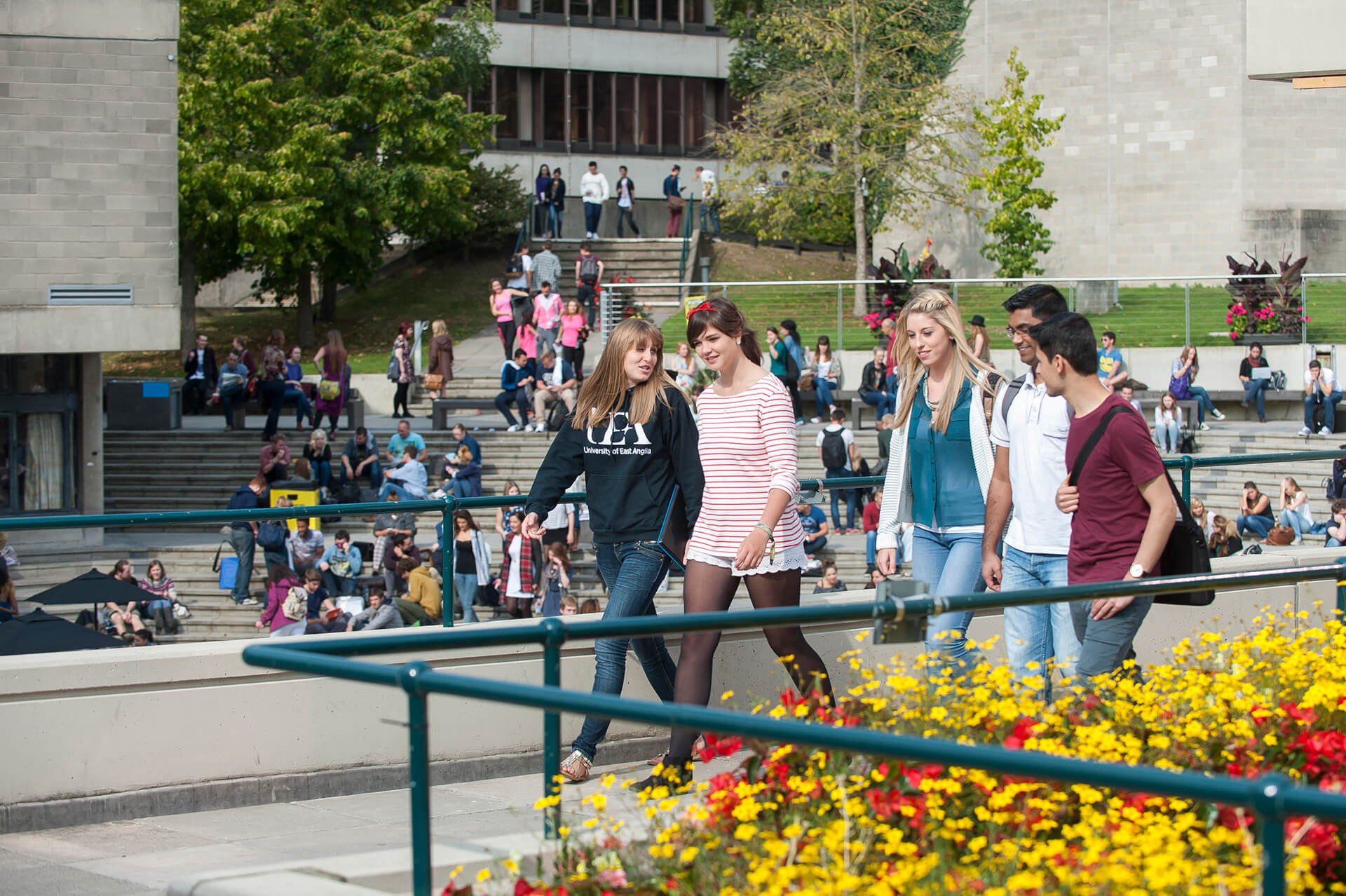 International students walking in The Square
