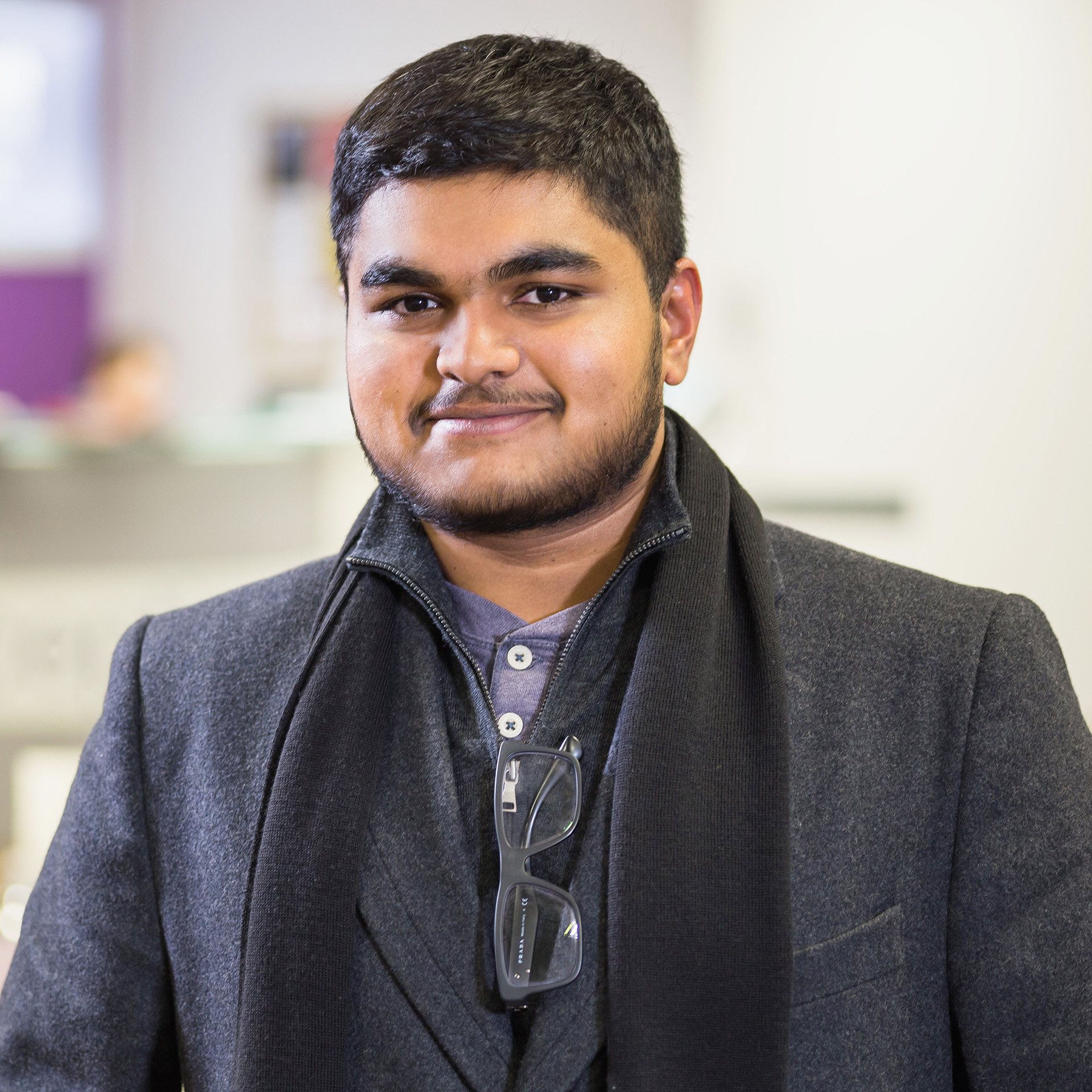 Photo of international student Muhammed at INTO City, University of London