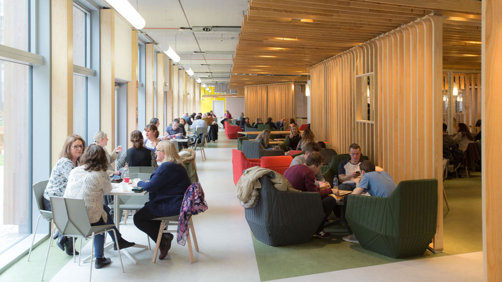 Students socialising at Glasgow Caledonian University campus