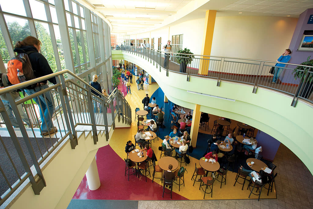 Students study, eat and hang out at the Busch Student Center atrium on campus