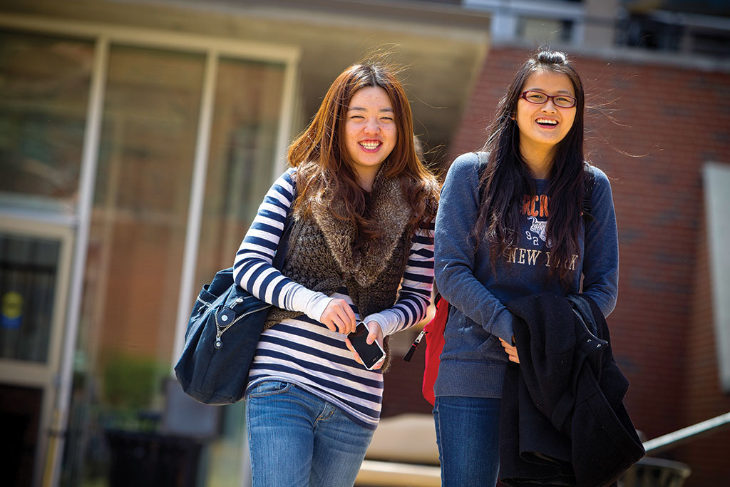 International students walking together on campus