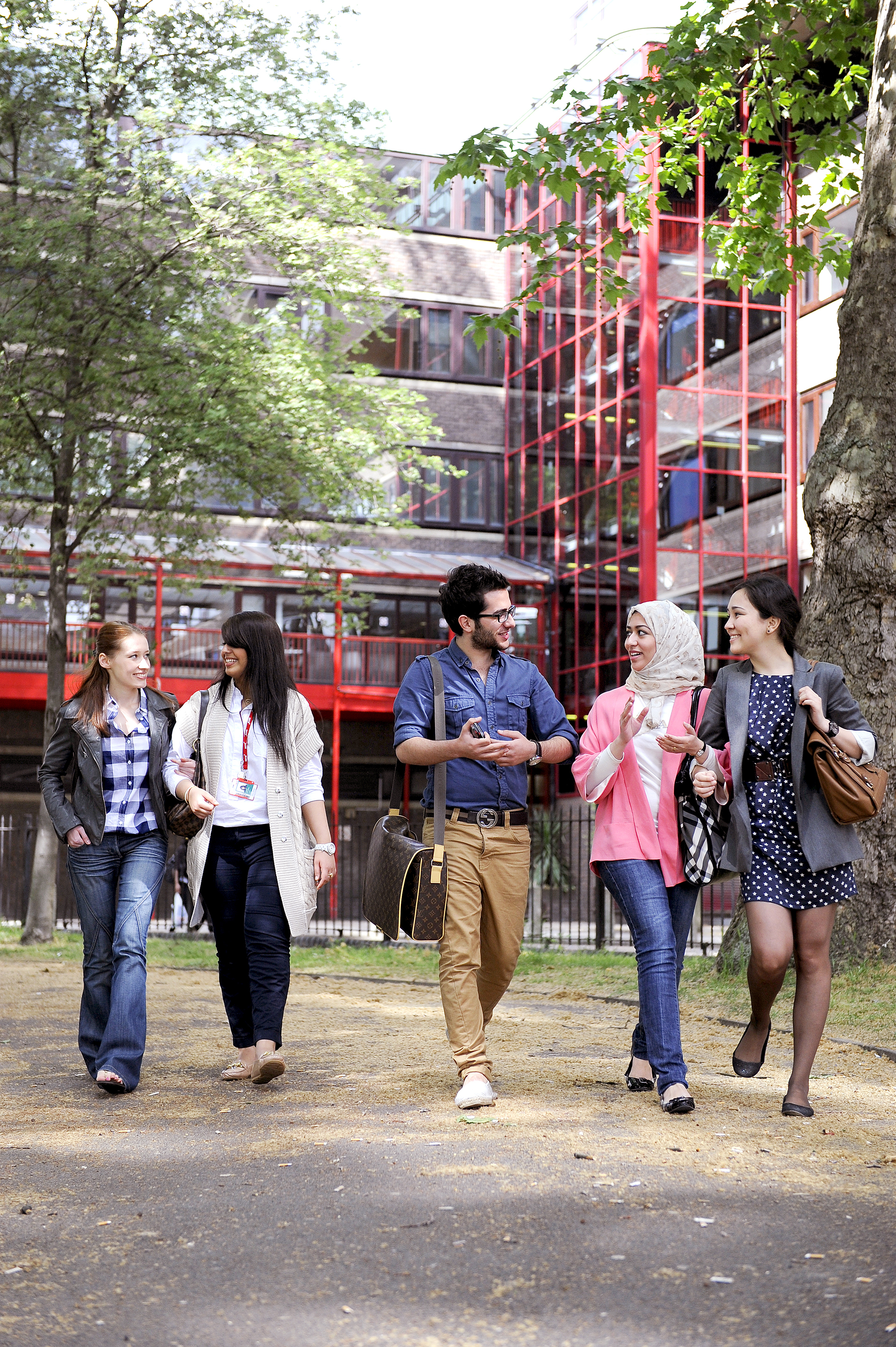 Group of students walking outside City, University of London