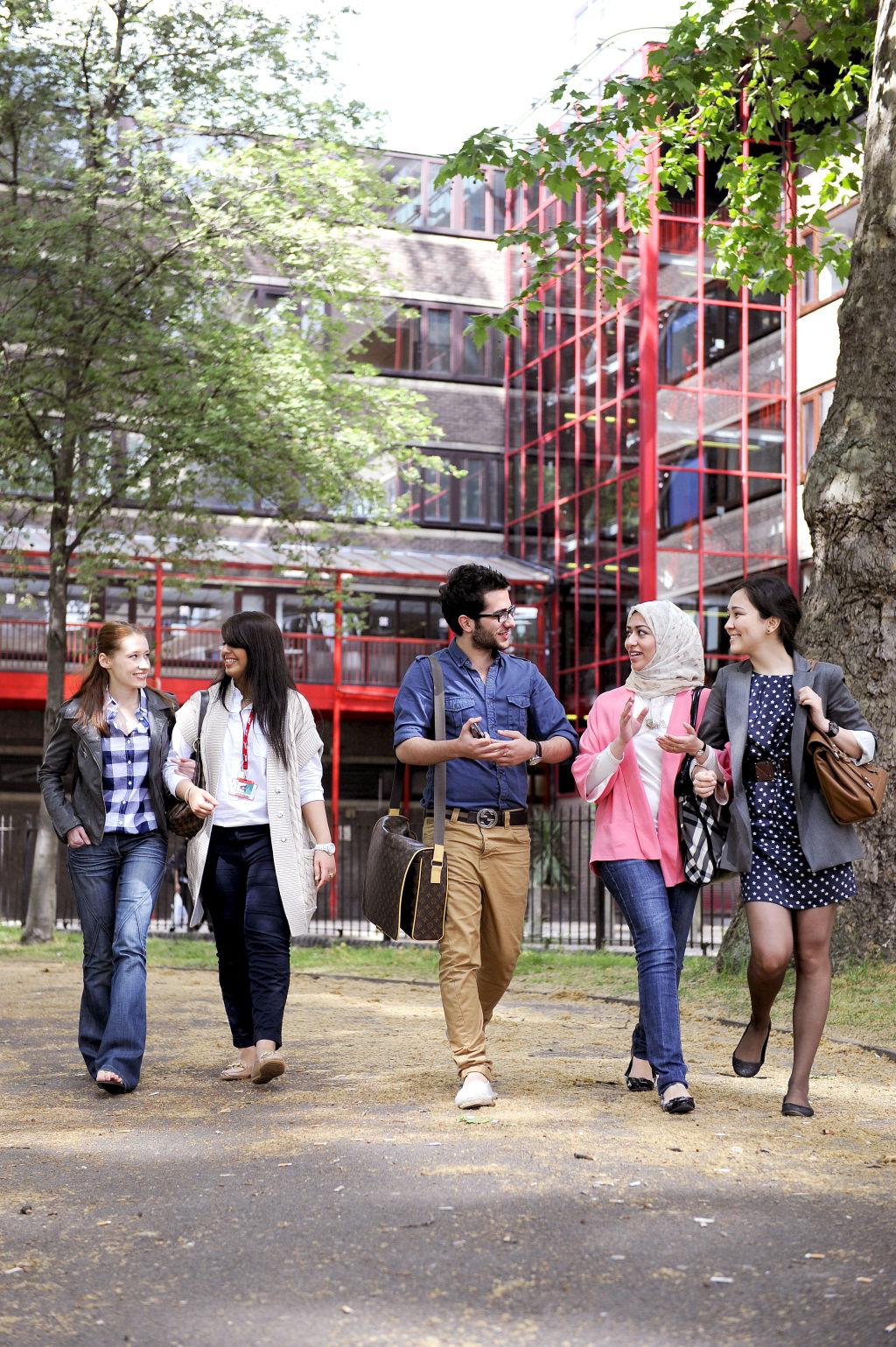 Students walking outside City, University of London