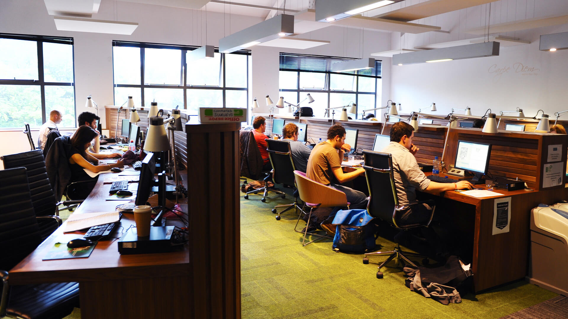 On-campus study area with computers at Queen's University Belfast