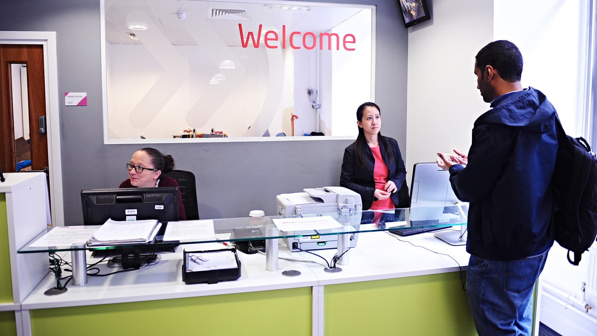 The INTO Manchester Welcome Desk is available for any questions you may have