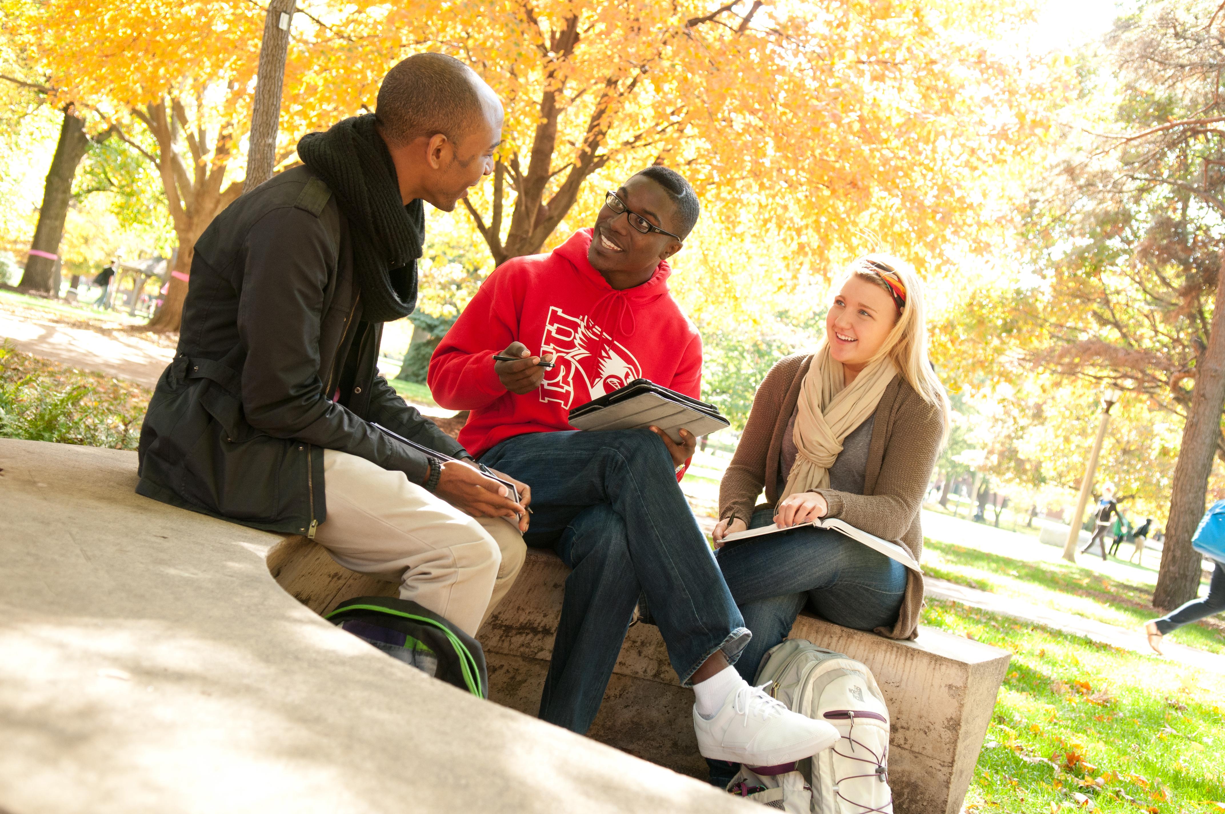 ISU students talking outside campus