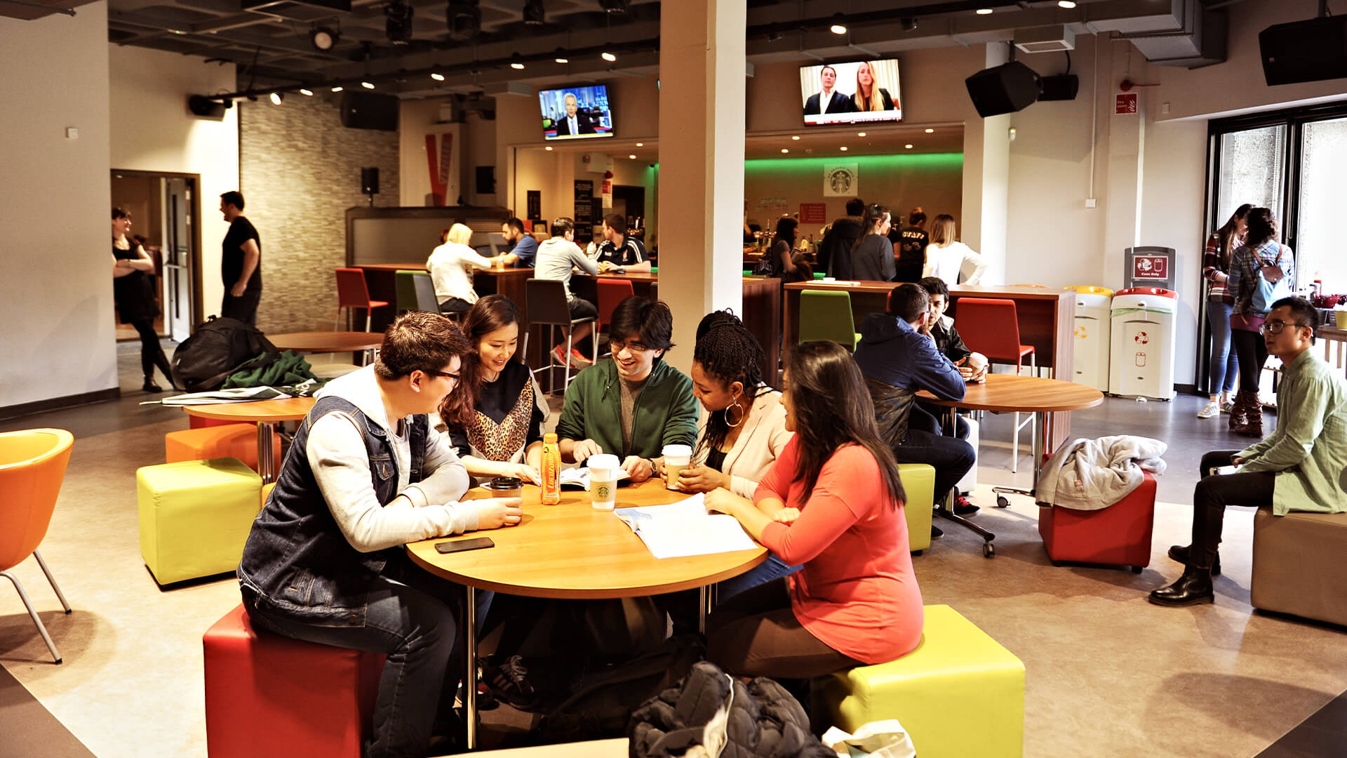 Students eating and drinking in one of the University of Stirling's  on-campus cafes