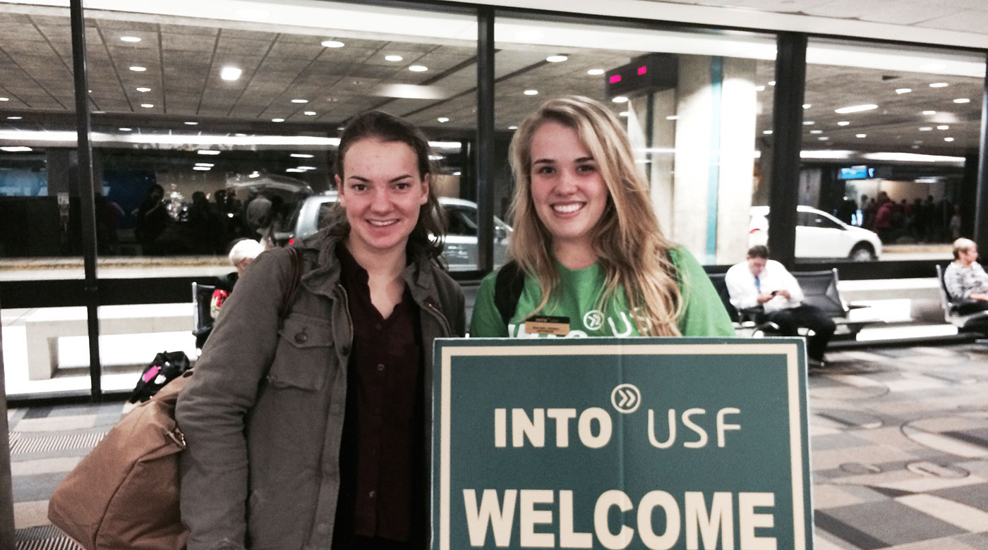 INTO USF more about university students welcome sign