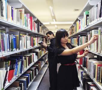 Students using library facilities at Manchester Metropolitan University