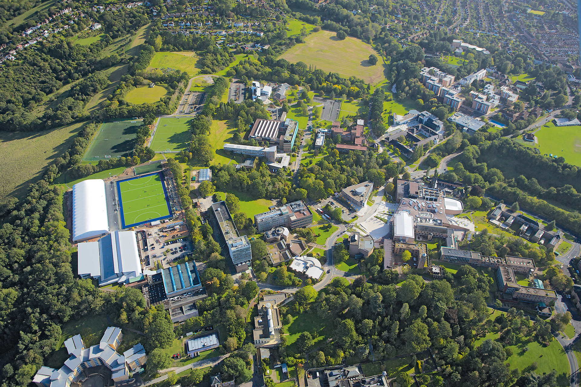 Aerial view of the University of Exeter campus